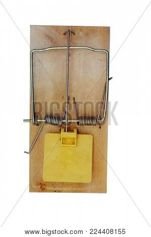 The most popular rat trap design. a spring trap to catch rats and mice isolated on white