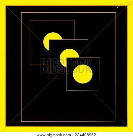 Geometric abstraction Circle inscribed in square color black and yellow