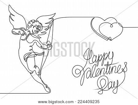 Continuous one line drawn silhouette of cupid angel cupid with a bow. Valentine with hearts and an inscription. Logo of Happy Valentine's Day