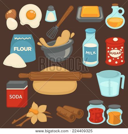 Baking ingredients and baker kitchen tools for bread and pastry cakes bake. Vector flat icons of dough and rolling pin, flour or eggs, milk and sugar, butter and oil for baking recipe