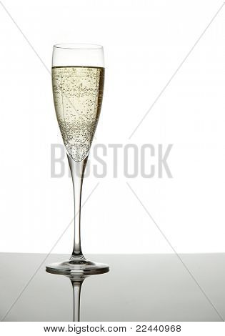 champagne glass isolated on white background