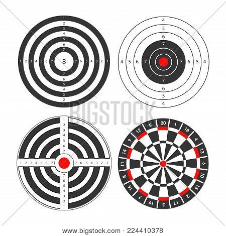 Shooting range targets vector icons templates. Isolated set of round target for darts and gun shoot aims sport with scores and bullseye for firing or archery and rifle shooting ground