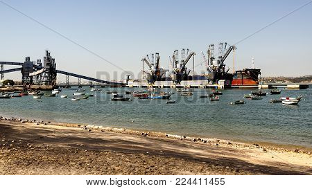 LISBON - October 7, 2017: Deep water terminal and silo for grain, derived products and oleaginous products in Trafaria, Portugal