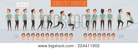Set of vector elements for man, guy character creation and animation. Different emotions, poses, side views, expressions, body parts of young hipster male constructor