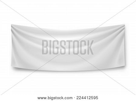 Blank horizontal banner, streamer, mockup, isolated. Outdoors information ridgepole for inscriptions, slogans, mottos and so on. Vector illustration of canvas