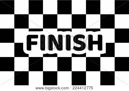 Flag auto racing, inscription finish, flat icon. Symbol of start and finish of race cars on route. Vector illustration of chess canvas
