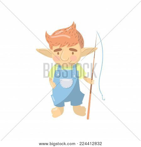 Cute troll boy character, funny creature standing with fishing rod cartoon vector Illustration on a white background