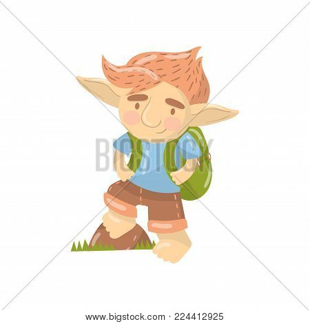 Cute troll boy character, funny creature standing with backpack cartoon vector Illustration on a white background