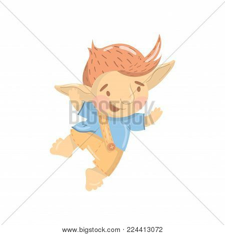 Cute smiling troll boy character, funny creature having fun and jumping cartoon vector Illustration on a white background