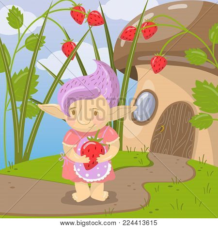 Cute troll girl character with strawberry standing on the background of fairytale mushroom house colorful vector illustration in cartoon style.