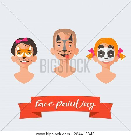 Children face painting collection of vector illustrations. Faces with different animals painted for kids party. Fox, dog, panda drawing makeup