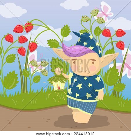 Cute troll character in blue pajamas standing and holding oil lantern on the backround of field of strawberry colorful vector illustration in cartoon style.