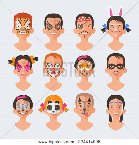 Children face painting big set of vector illustrations. Faces with different animals and heroes painted for kids creative party. Cat, dog, rabbit, spider drawing makeup
