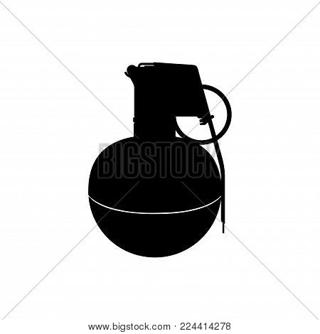 Black silhouette of hand grenade. Army explosive. Weapon icon. Military object. Vector illustration