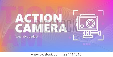 Vector illustration of action camera wearable technology icon.