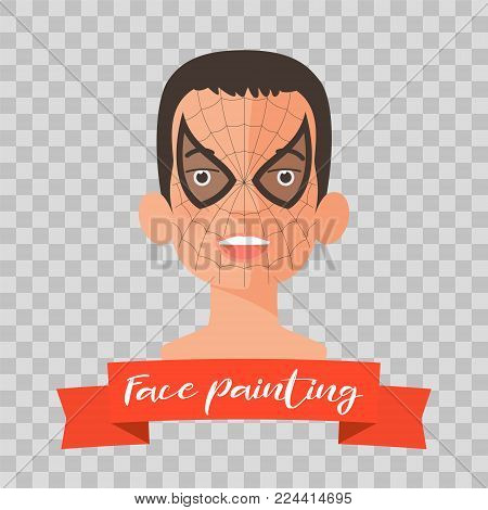 Kid with spider face painting vector illustrations on transparent background. Child face with hero makeup painted for kids party