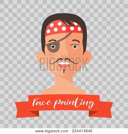 Kid with pirate face painting vector illustrations on transparent background. Child face with hero makeup painted for kids party
