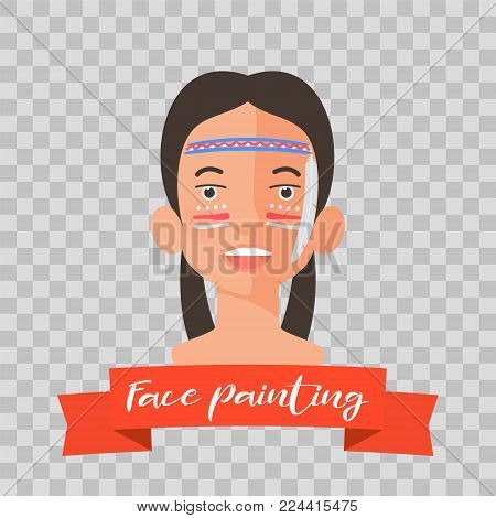Kid with American Indian face painting vector illustrations on transparent background. Child face with hero makeup painted for kids party