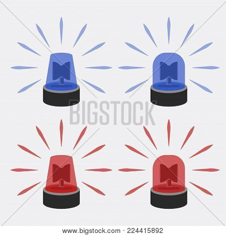 Police flasher sirens set isolated. Alert flashing lights. Vector illustration