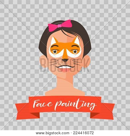 Kid with fox face painting vector illustrations on transparent background. Child face with animal makeup painted for kids party