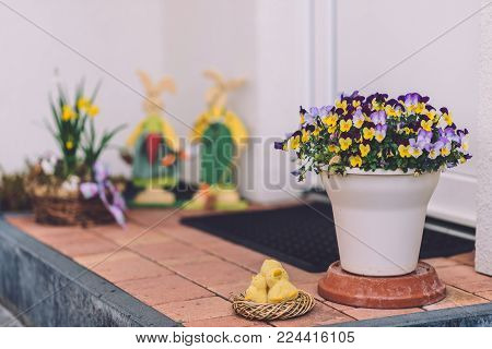 April, 17th, 2017 - Potsdam, Brandenburg, Germany. Traditional festive handmade decorations, such as Easter rabbit and flower pots on bokeh background during Easter celebration in Potsdam.