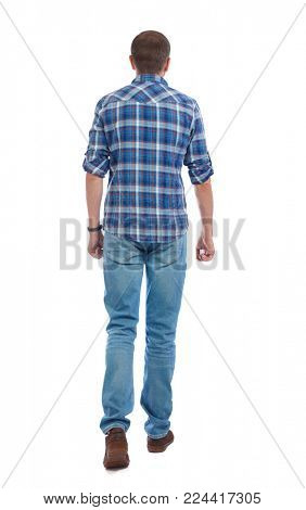 Back view of going  handsome man. walking young guy . Rear view people collection.  backside view of person.  Isolated over white background. A man in a blue shirt goes away.