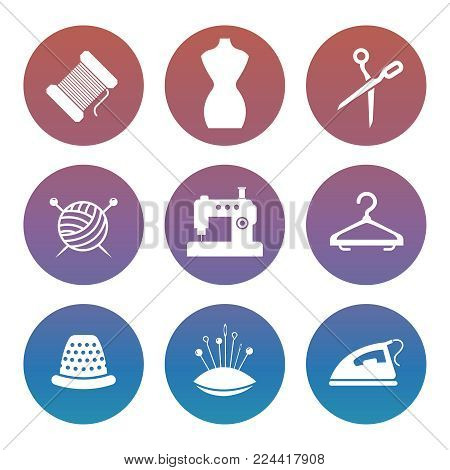 Sewing or tailor shop silhouette icons set in round. Vector illustration