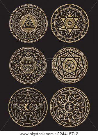 Golden occult, mystic, spiritual, esoteric vector symbols on black background. Vector illustration