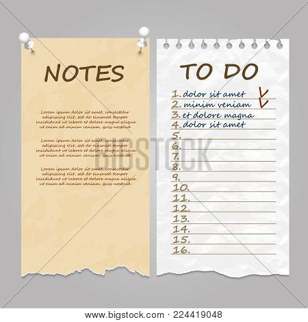 Vintage style ripped pages for notes, memo and to do list. Vector illustration