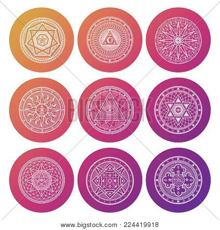 Set of white occult, mystic, spiritual, esoteric bright vector icons illustration