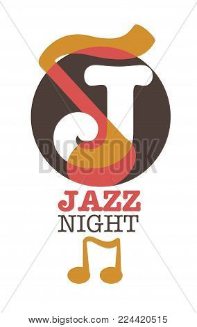 Jazz night musical art poster vector template. J letter and musical note isolated icon for jazz band concert or saxophone music party