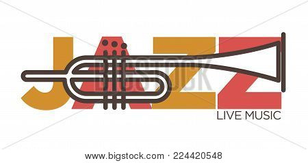 Jazz live music concert logo of banner design template of saxophone. Sax musical instrument and Jazz letters vector isolated icon saxophone music party