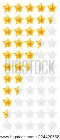 3D gold stars rating icon set. Isolated quality rate status level for web or app from five to zero. Vector illustration.