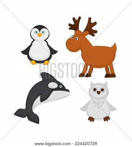 Polar animals and arctic fish cartoon characters. Vector funny polar white owl, reindeer or orca killer whale and and penguin isolated icons for zoo kid design