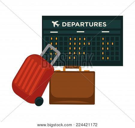 Travel or air world trip vector flat icon of traveler luggage bag and airport flight schedule. Vector design for tourism agency or summer vacations or airplane travel voyage