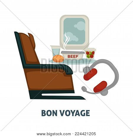 Travel or bon voyage air world trip vector flat icon of airplane seat and window, onboard meals and traveler headphones. Vector design for tourism agency or summer vacations or airplane travel journey