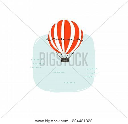 Hand drawn vector abstract cartoon summer time fun illustration with hot air balloon and simple blue ocean waves isolated on white background.