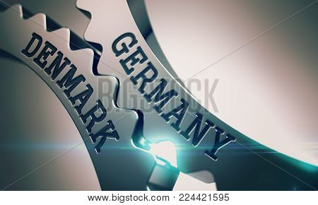 Germany Denmark on the Mechanism of Metallic Cog Gears. Communication Concept in Technical Design. Germany Denmark - Business Concept. 3D Illustration .
