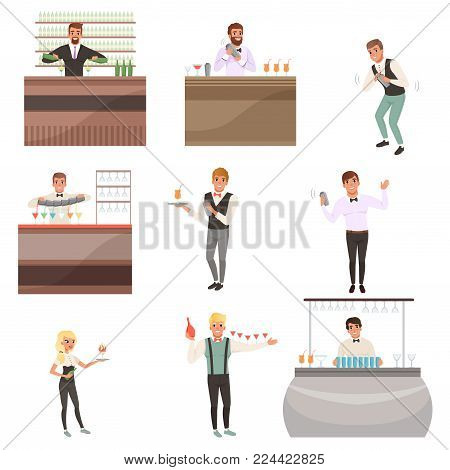 Young bartenders standing at the bar counter surrounded with bottles and glasses. Barmen mixing, pouring and serving alcohol drinks. People characters set working in cafe or bar. Flat cartoon vector