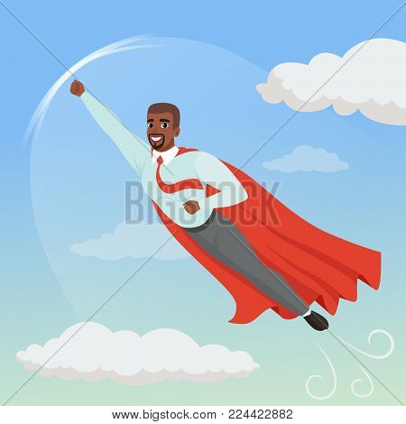 Cartoon afro-american man with superhero cloak flying in blue sky. Professional growth and promotion concept. Successful businessman character in blue shirt, red tie and gray pants. Flat vector design