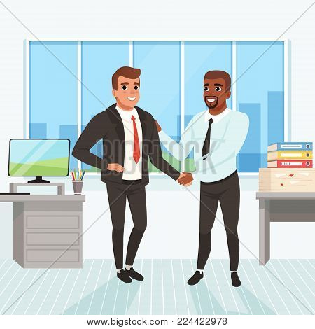 Boss congratulating employee with career promotion. Successful deal. Business people shaking hands in office. Window, table, monitor, stack of paperwork and folders on background. Flat vector design