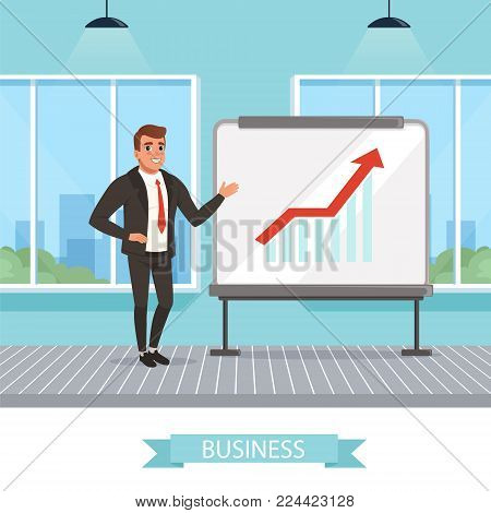 Self-confident businessman standing near blackboard and showing growing graphs. Successful work. Office room with big panoramic windows. Successful worker. Colorful vector illustration in flat style.