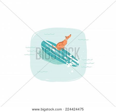 Hand drawn vector abstract cartoon summer time fun illustrations icon with swimming surfer dog on longboard in blue ocean waves isolated on white background.