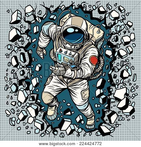 Astronaut breaks the wall, leadership and determination. Pop art retro comic book vector cartoon vector illustration hand drawing