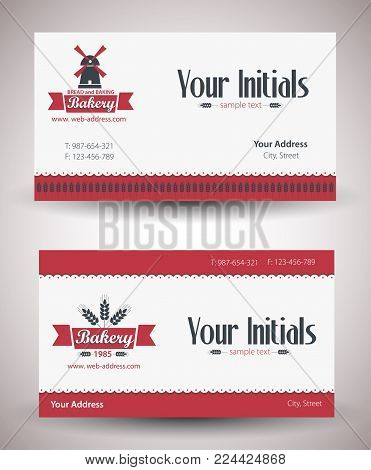 Bakery shop visit card prototype. Set of examples. Vector illustration
