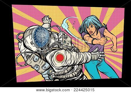 woman vs astronaut, fight. Pop art retro comic book vector cartoon vector illustration hand drawing