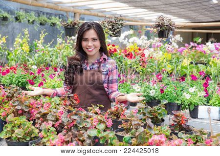 Smiling Woman Florist, Small Business Flower Shop owner