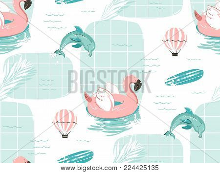 Hand drawn vector abstract cute summer time cartoon illustrations seamless pattern with pink flamingo float circle, surfboard and dolphins in blue ocean water background.