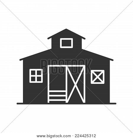 Barn glyph icon. Ranch. Agriculture. Silhouette symbol. Negative space. Vector isolated illustration