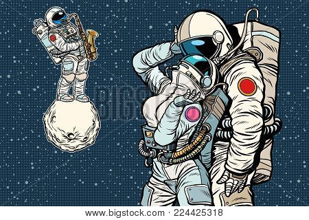 cosmonauts are dancing. romantic date, man loves a woman. Pop art retro comic book vector cartoon vector illustration hand drawing